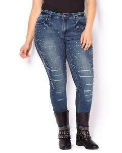 NEW MBLM RIPPED / DISTRESSED JEANS WITH RHINESTONES - SIZE 1X