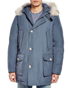 Men's Woolrich Blue-Gray Arctic Down Parka - New