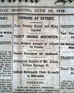 GREENFIELD-Indiana-NEGRO-Lynching-Detroit-Michigan-Tornado-1875-Old-Newspaper