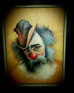CREEPY CLOWN oil painting (framed)