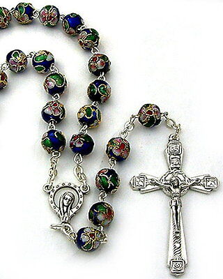 NEW MADE IN ITALY MADONNA WITH STARS CLOISONNE BLUE ROSARY - BEAUTIFUL ROSARY on Rummage