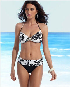 Anne Cole Swimsuit Bikini Black and White Floral NWT Size S