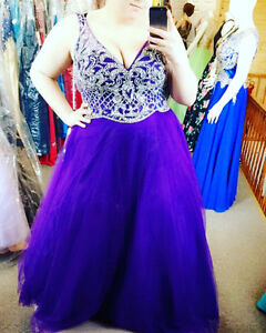purple prom dress only worn once to my grad! size 2XL fits good!