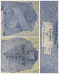 Topman men distressed denim jacket