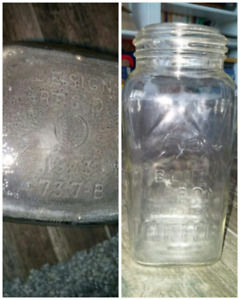 Blue Ribbon Glass Coffee Jar 1930's Vacuum Packed 4737-B Design.