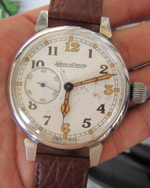 Vintage WWII Military Issued Men Jaeger LeCoultre Winding Wrist Watch, Switzerland, Limited Edition