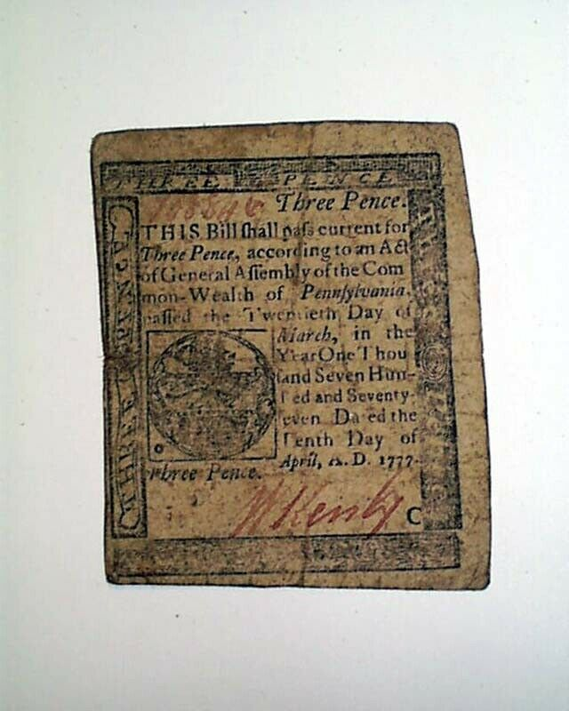 Rare 1777 CONTINENTAL John Dunlap PENSYLVANIA Paper Money Currency Three Pence
