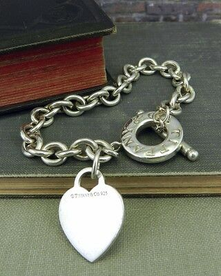 Authentic Tiffany & Co. 925 Sterling Silver Heart Tag Toggle Link Bracelet