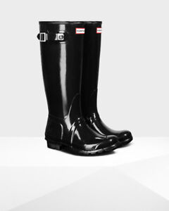 Hunter Tall Gloss Rain Boots - BLACK SIZE 7