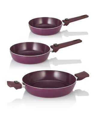 Cucinella Aluguss Pfannen Set 3 tlg  Abnehmbarer Griff, Bratpfanne, Koch Pfanne Kochen Pfanne