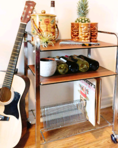 Vintage bar cart or record player and lp trolley