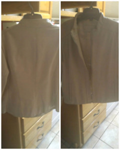Cream colored leather jacket