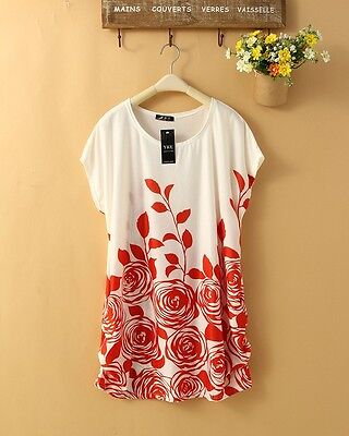 New RED Bohemian Confortable Chiffon in T-Shirts Women Lady Mini dress DB0025 on Rummage