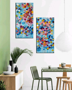 Abstract Floral Painting,Stretched Canvas,Acrylic Painting.