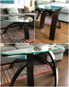 Set of | Modern Triangle Glass Coffee, Sofa and Side Table