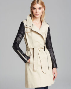 MACKAGE Avra Trench Coat with Leather Sleeves Size XS -Like New!