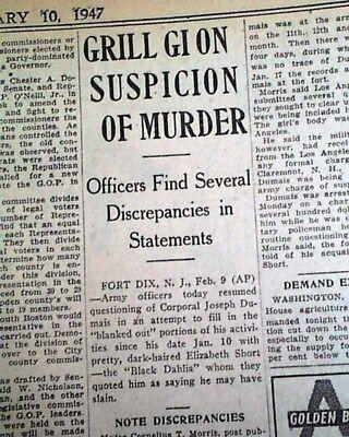 (BLACK DAHLIA Elizabeth Short Los Angeles CA HOLLYWOOD Murder Case 1947 Newspaper)