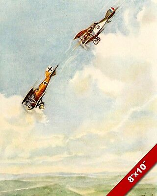 FLYING ACES BIPLANE DOG FIGHT WWI WORLD WAR 1 ART PAINTING REAL CANVAS PRINT