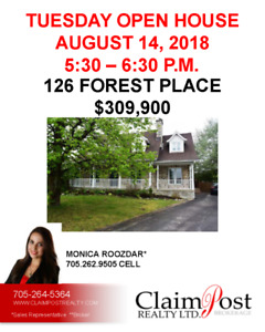 TUES. AUG 14 OPEN HOUSE - CLAIMPOST REALTY LTD., BROKERAGE