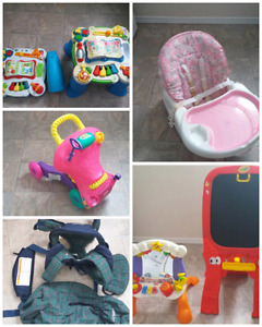 Baby toys, car seats, and clothes