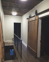 Barn board Reclaimed Wood Accent Wall and Doors Installation
