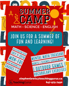 MISSISSAUGA SUMMER CAMP GRADES 1-8 MATH & SCIENCE ACTIVITIES