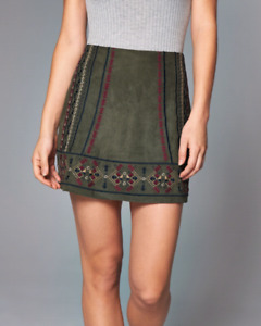 BNWT ABERCROMBIE & FITCH EMBROIDERED SUEDE SKIRT