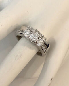 14k white gold diamond engagement ring set^Certified at $5,700