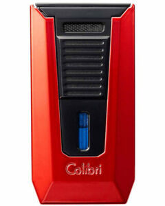 COLIBRI SLIDE DOUBLE-JET FLAME LIGHTER RED AND BLACK