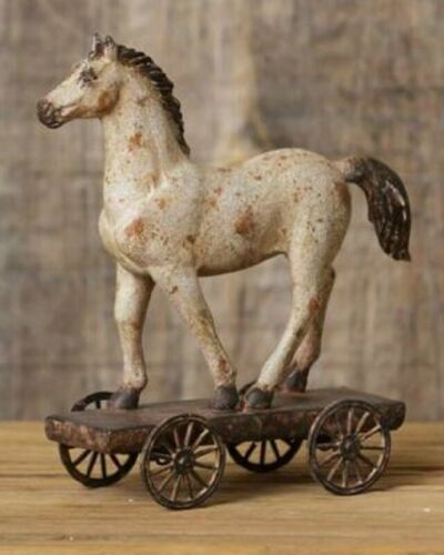 Distressed Rustic Polyresin Pony Horse Pull Toy On Wheels Victorian-Replica