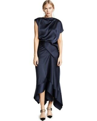 "NEW NWT $450 ACLER ""DALISAY"" blue satin draped midi dress sz US 6"