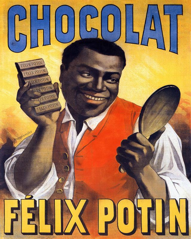 POSTER CHOCOLAT FELIX POTIN BLACK CHOCOLATE MIRROR FRENCH VI