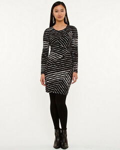 Le Chateau Stripe Jersey Knit Fitted Tunic Dress