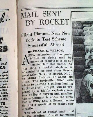 1St U S  Mail Rocket Airplanes Flight Frido Kessler Planned 1936 Old Newspaper