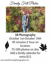 SB PHOTOGRAPHY NOW OFFERING FALL SESSIONS FOR $75