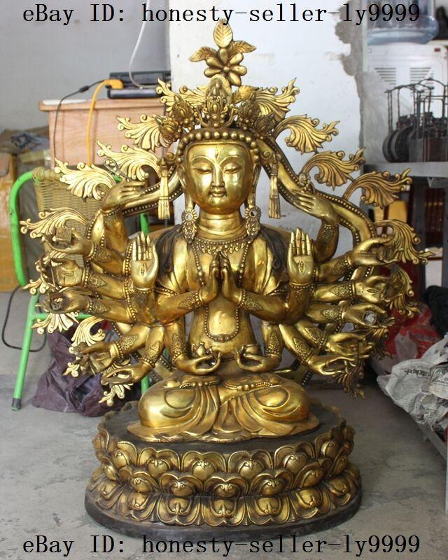 "35""tibet Fane Buddhism Bronze Gilt Gold 18 Arms Kwan-yin Guan Yin Goddess Statue"
