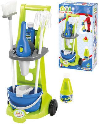 Ecoiffier Putzwagen mit Besen, Feudel Handstaubsauger Spielzeug Kinder Putzzeug
