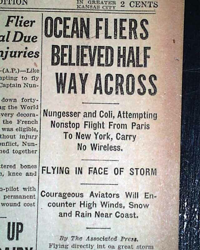 CHARLES NUNGESSER Transatlantic Ocean AIRPLANE In Flight Report 1927 Newspaper