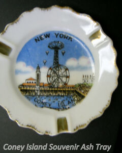 "Coney Island Souvenir Ashtray, 4"", gold trim, stylized image"