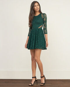 Abercrombie & Fitch Green Lace Dress - Size S