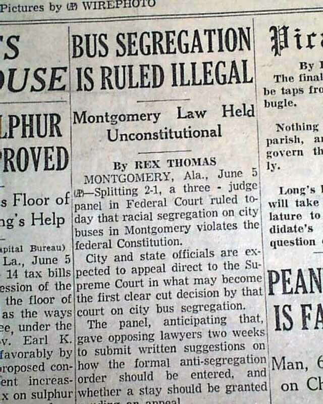 BUS SEGREGATION Montgomery Alabama Browder v. Gayle Local Ruling 1956 Newspaper