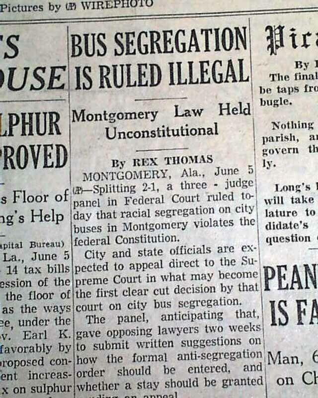 BUS SEGREGATION Montgomery Alabama Browder v. Gayle Local Ruling 1956 Newspaper