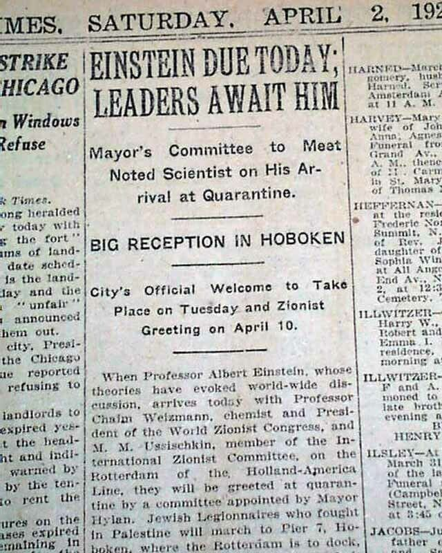 ALBERT EINSTEIN Theory of Relativity Eve 1st Visit to America 1921 NYC Newspaper