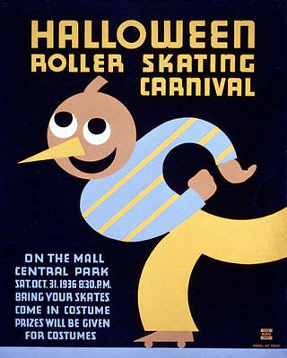 POSTER HALLOWEEN ROLLER SKATING CARNIVAL COSTUME USA VINTAGE REPRO FREE S/H - Halloween Costume Poster