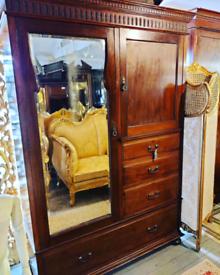 Victorian Mahogany Combination Wardrobe