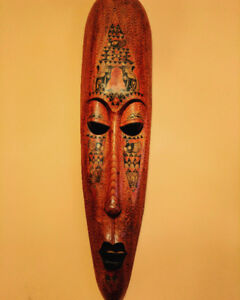 Large Hand Carved Painted Tribal Wooden Mask Wall Hanging