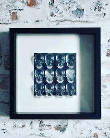 Skulls in shadow box frame