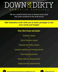 Domestic & Commercial Cleaning Services to suit all budgets.