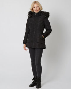 NEW Fashion Puffer Coat with Faux Fur Hood $150+Taxes in Store!
