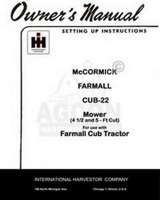 International Farmall Mccormick Cub-22 Sickle Mower 4 12 5 Ft Operators Manual